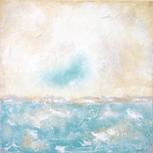 aqua beige and gray seascape