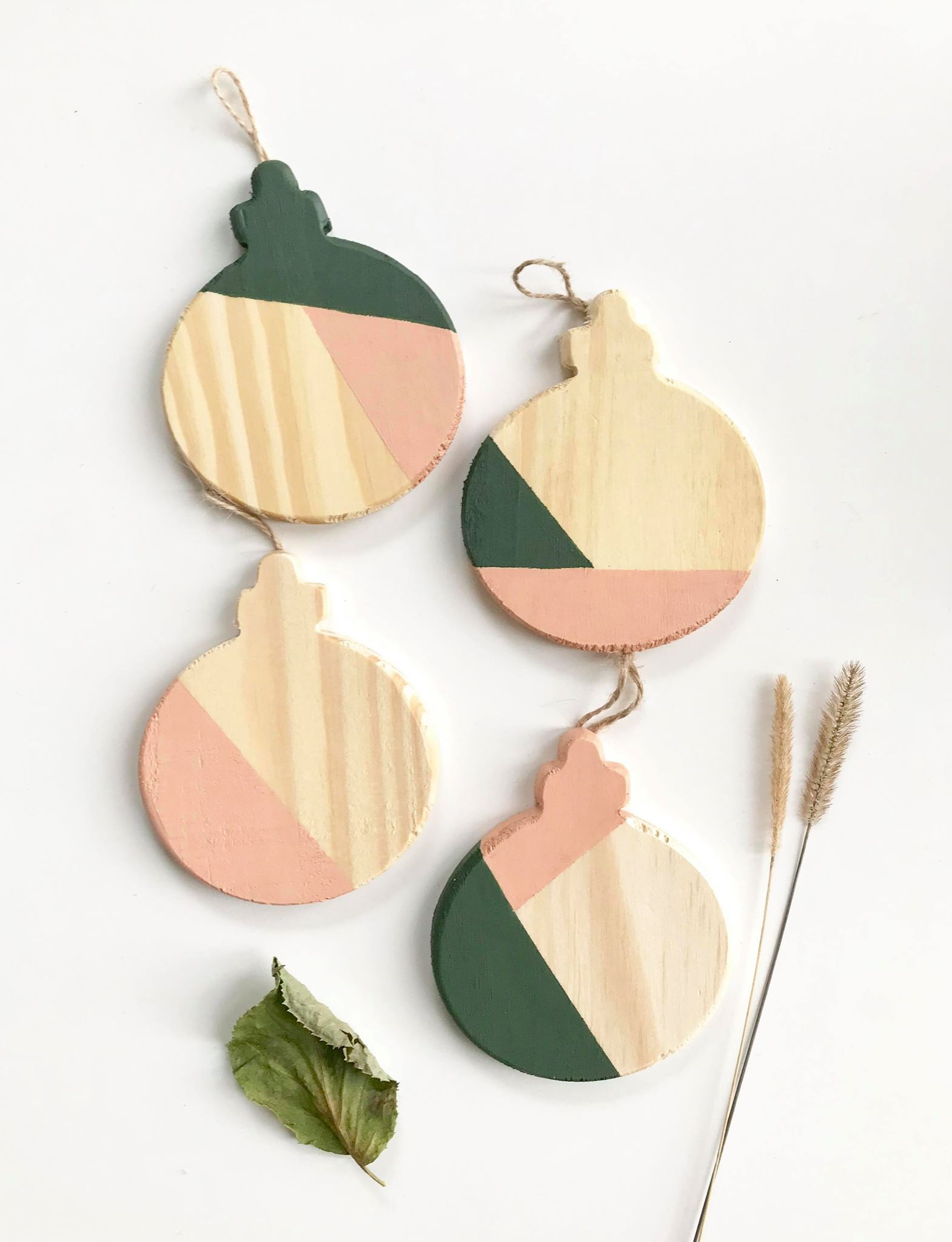 4 color block ornaments in green and blush pink