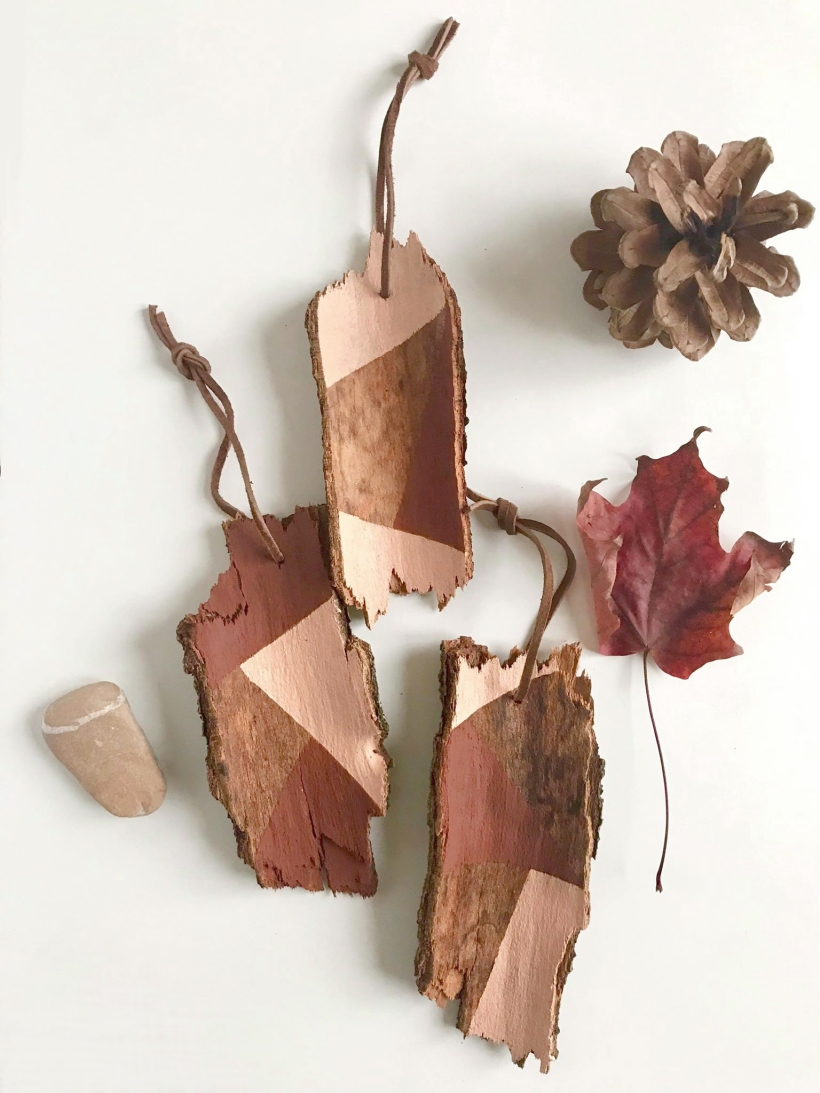 color block bark ornaments