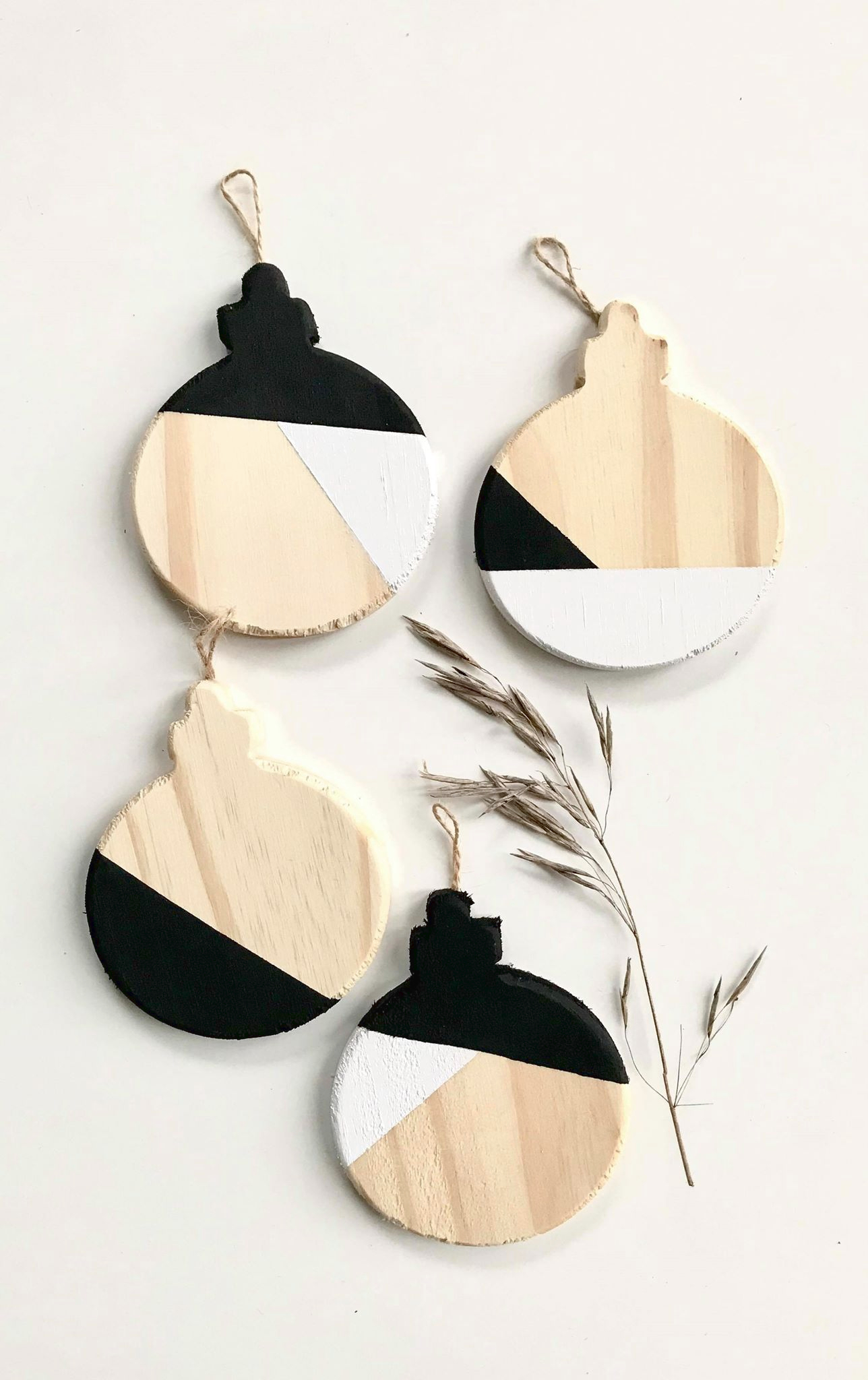 color block ornaments in black and white