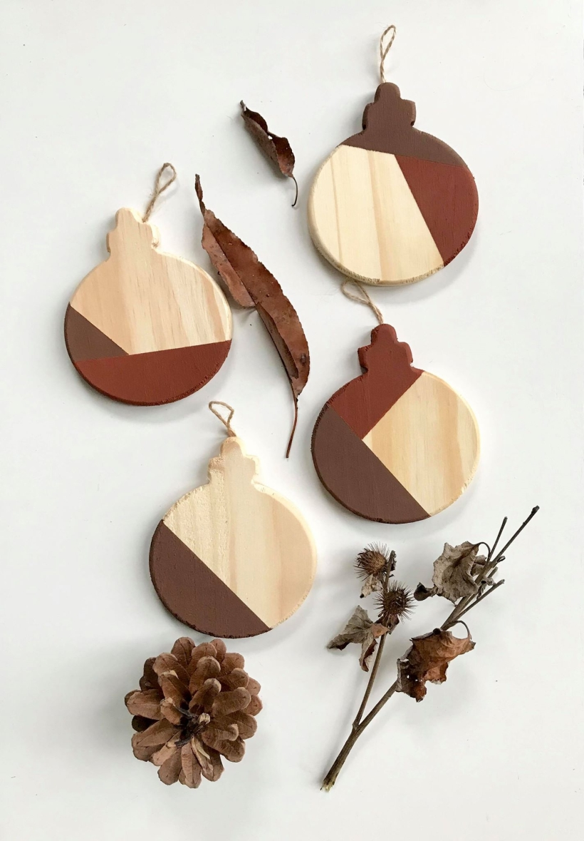 color block ornaments in chocolate and rust