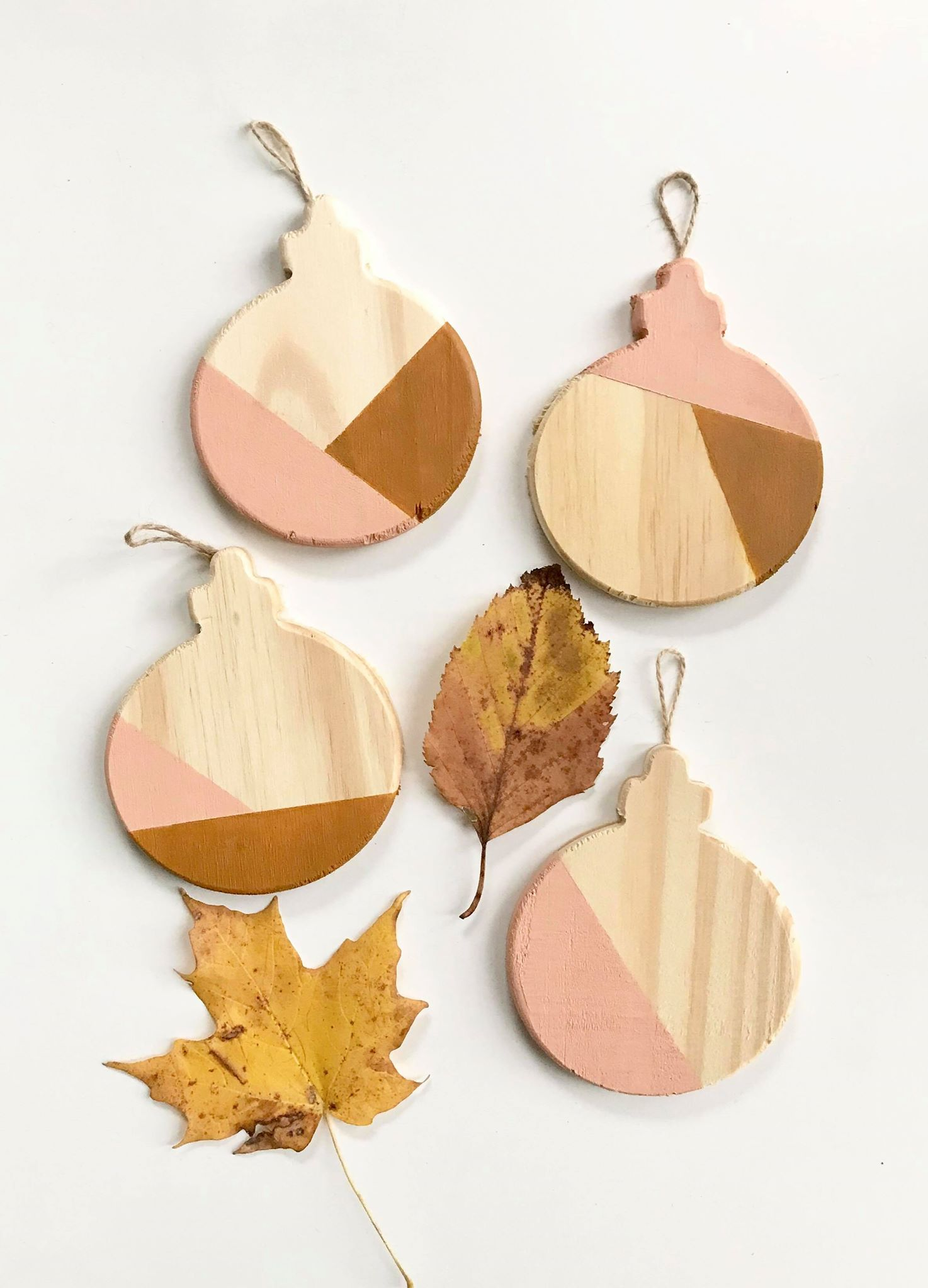 color block ornaments in mustard and blush pink