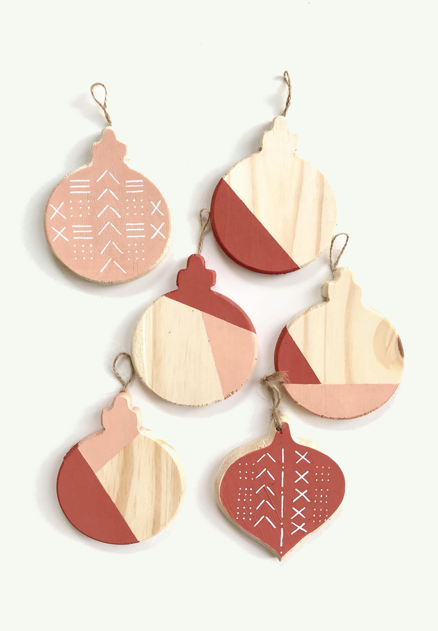 mudcloth and colour block ornaments in blush pink and cinnamon2